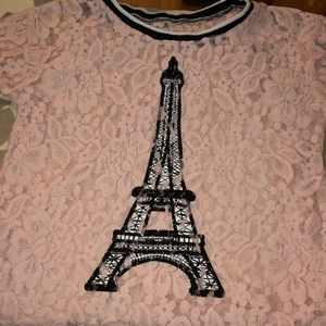 Girls sheer floral pink Paris blouse